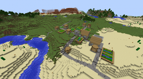 Double Minecraft village seed 1.8.2 flower forest mesa forest desert villages.png