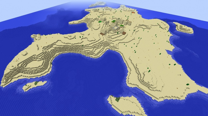 File:Minecraft island village seed 1.8.3 with desert island and big church dungeons diamonds.jpg