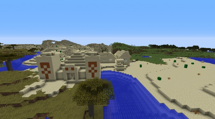 Minecraft village seed with desert temple built in 1.8.1 and 1.8 with plains desert savanna diamonds.jpg