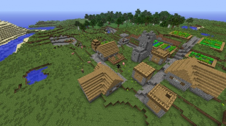 Holy Minecraft 1.5.2 village seed with pigs.jpg