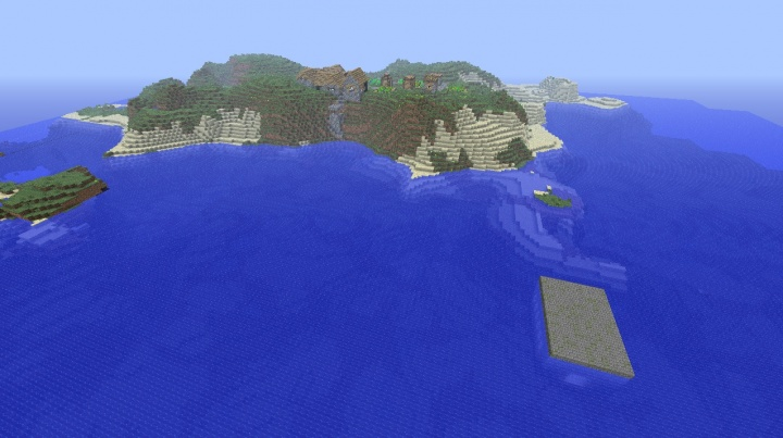 Minecraft 1.6.4 seed village island by exposed stronghold above water.jpg