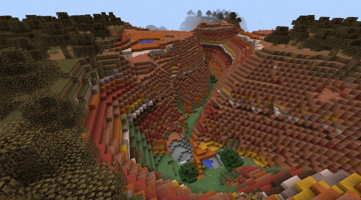 Minecraft 1.8.4 mesa plateau seed with exposed coal, caves, trees, clay.jpg