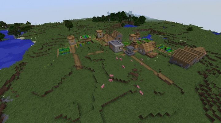 Minecraft 1.11.2 village seed with pigs by a lake.jpg