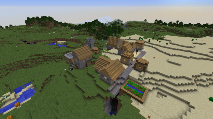 Plains desert village seed Minecraft 1.8.2 fissure below village diamond and horses.png