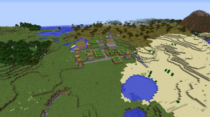 Minecraft village seed by plains desert moutnain roofed forest cool fun great good.jpg