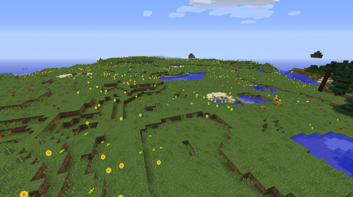 Minecraft sunflower plains seed that's huge with animals and horses.png
