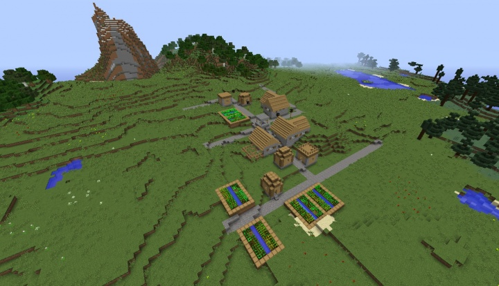 Minecraft 1.8.8 seed village in plains surrounded by cool stuff.jpg