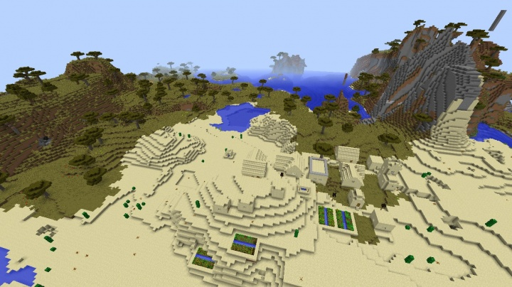 Minecraft village seed three villages desert moutnains awesome cool fun 1.8.2.jpg