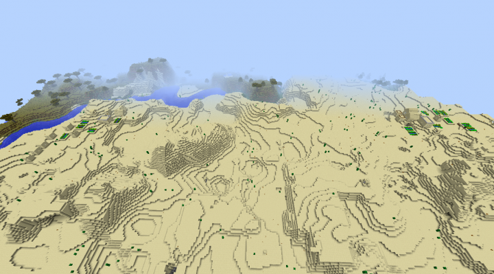 Minecraft NPC village seed 1.8.3 with three villages and two in sight big desert villages.png