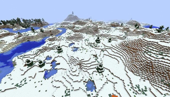 Minecraft snow seed 1.8.3 with lava and caves at spawn snow mountain snow forest frozen river.jpg