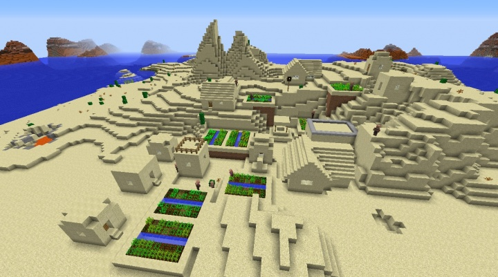 Minecraft hillside village seed with farms by mesa in the desert and blacksmith.jpg