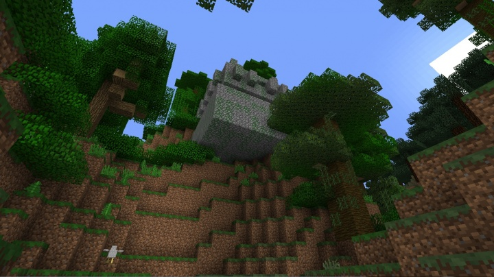 Minecraft 1.8.2 three jungle temples seed with one floating in the air amazing fun epic cool super minecraft.jpg