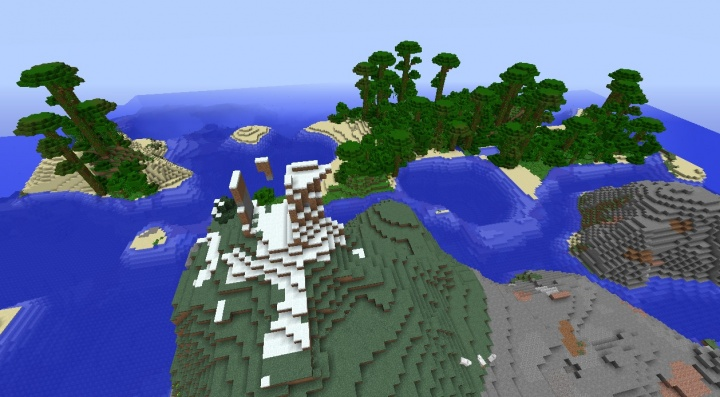 Minecraft 1.8.4 jungle islands seed with mountain spawn and ocean.jpg